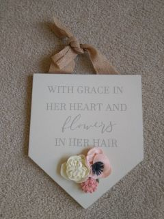 Handmade Wooden Painted Sign Home Decor Girls Flowers