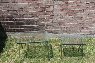 Two Patio Side Tables Iron