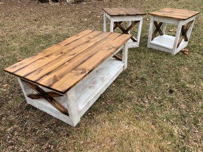 Rustic farmhouse barn wood style coffee table living room set