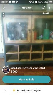 Wood and iron wine cabnit