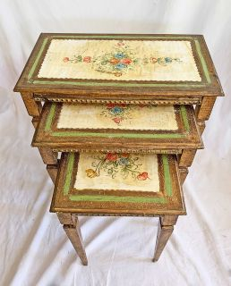 Antique Italian Tole Nesting Tables Florentine