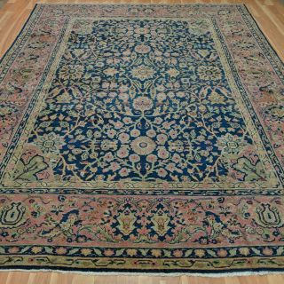Antique Turkish Rug 9' x 11' 10 Blue Sparta