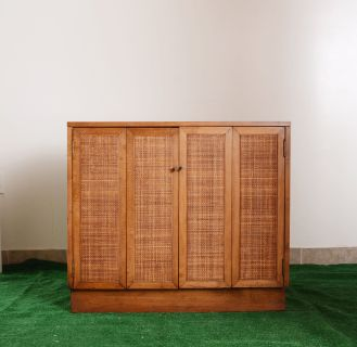 vintage MCM wood cabinet with wicker cane panels