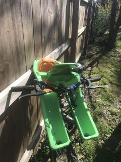 Bike and front carrier for kiddo! Well used and loved! Pretty warn but both work!