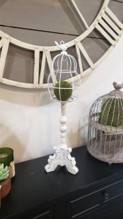 """White Distressed Candle Holder with Metal Bird Cloche. Has Hook inside Cloche. 22.5"""" T x 7"""" R."""