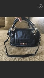 COACH Kristin Double Zip Black Leather Satchel