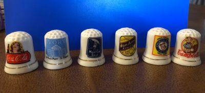 6 Piece Thimble Advertising Collection