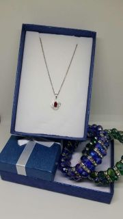 Sterling Silver necklace with Ruby Pendant
