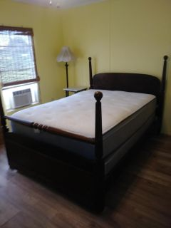 Vintage/Antique Bed with Mattress Set and Chest of Drawers and Chair