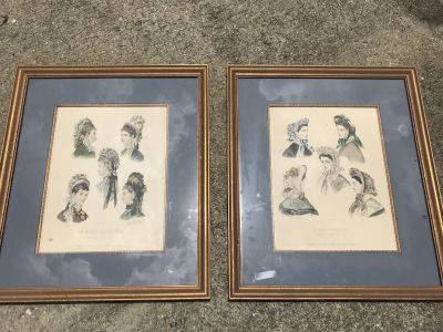 Framed hand colored drawings