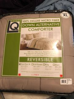 Down comforter and curtains