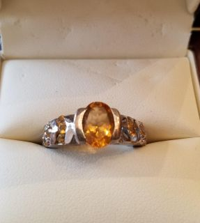 Lady's Citrine and Silver Ring