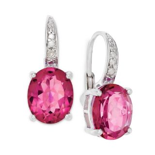 Pink Oval Quartz Diamond Earrings