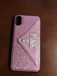 Pink iPhone X case. With card holder. Soo cute.