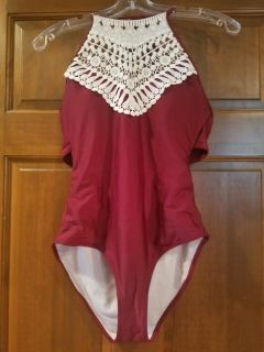 New without Tags Burgundy with Lace 1 Piece