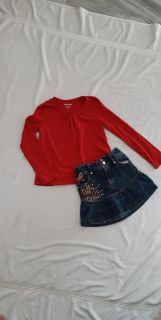 EUC JOE FRESH SIZE Sm top says 6 will fit 6/8 and designer jean skirt by Red fits 5/7