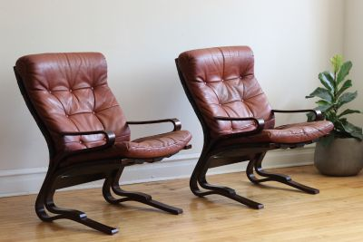 Pair Scandinavian MidCentury Leather Lounge Chairs