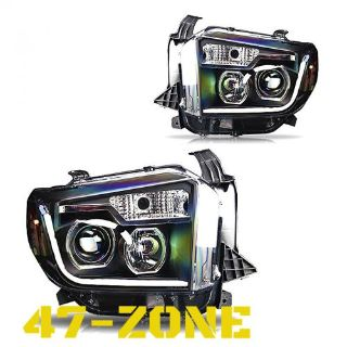 Sell For 2014-2015 Toyota Tundra LED DRL Clear Projector Lens Black Housing Headlight motorcycle in Chino, California, United States