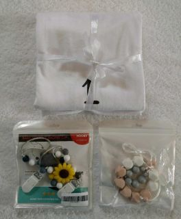 Pacifier Clips, Necklace Teething and Milestone Blanket