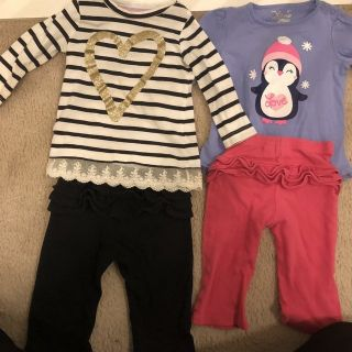 Girls 12 months shimmery long sleeves shirts with ruffled pants
