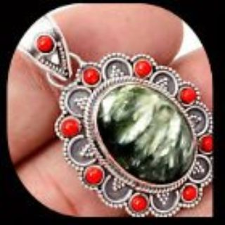 NEW - Russian Seraphinite & Red Coral 925 Sterling Silver Pendant - Comes with a chain