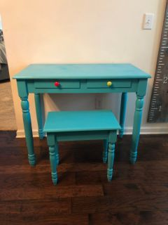Teal Desk and Stool