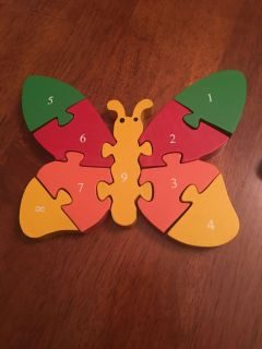 Wooden number puzzles