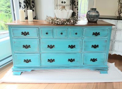 Turquoise wood dresser with black accents and natural wood top, 58Lx31Hx18D""