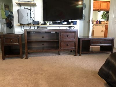 Solid wood coffee table, side table and media set