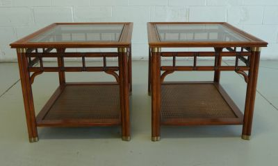 Pair of Faux Bamboo & Cane Regency MCM Side Tables