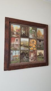 Brown wooden framed rustic fall painting