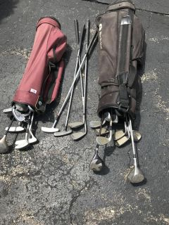 Miscellaneous golf clubs and two bags