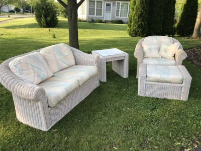 Lot Vintage Wicker Patio Porch Sun Room Furniture HENRY WICK Loveseat Chair Ottoman table
