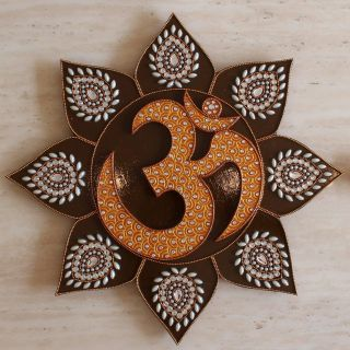Om Symbol Om Sign Wall Decor for Living Room - Handmade Hand Painted Hand Decorated - Hindu Art - Inspired by Temples In India - Copper Bro