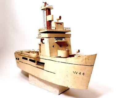 Folk Art Model Ship, White Handmade Boat, 1950s