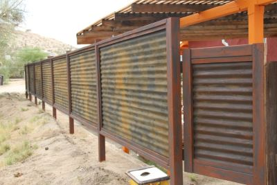 "CUSTOM MADE CORRUGATED Metal & Wood Fence ""Privacy"" Patina Rust or Unpainted ""look"""