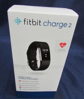 New Fitbit Charge 2 Fitness Band Black Sz Large