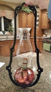 Oil Lamps, Hanger and Wall Hook - Red/Cranberry Glass