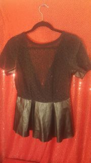 Bisou Bisou, brand, Black lace and pleather style top. Ladies Medium Excellent condition.