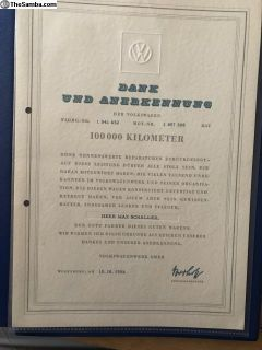 Gold Volkswagen pin With 100000KM paperwork