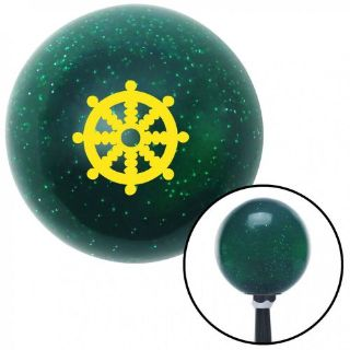 Purchase Yellow Wheel of Dharma Green Metal Flake Shift Knob with 16mm x 1.5 insert mac motorcycle in Portland, Oregon, United States, for US $29.97