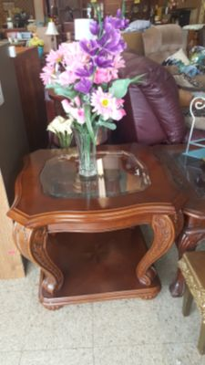Glass and Wooden End Table