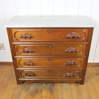 Antique Walnut Marble Top Dresser Chest of Drawers