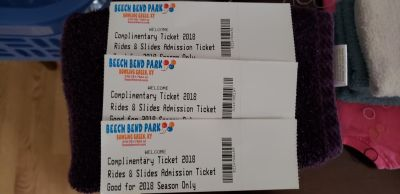 3 beechbend tickets have to be used this season 27.00 a piece