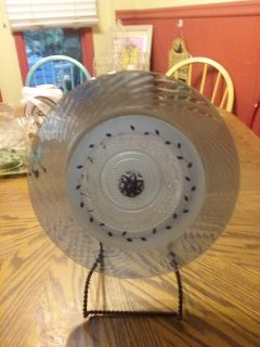 Very pretty 12 inch Garden plate comes with wire easel for inside Decor or 6 ft pole for outside in the garden