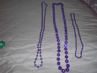 3 Purple Long Beaded Necklaces!