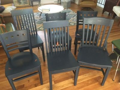 6 wood mismatching dining room chairs