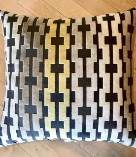 DOWN THROW PILLOWS BEIGE YELLOW AND DARK GREY GREAT CONDITION 22 by 22 selling together smoke free and pet free home