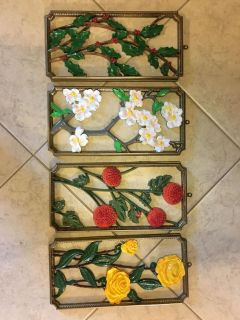 $45 OBO 4 piece Syroco plaques different plants/flower