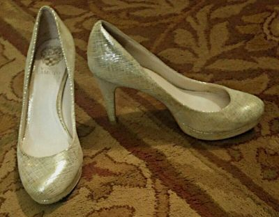 """""""Vince Camuto"""" Silvery Gold Leather Pump"""